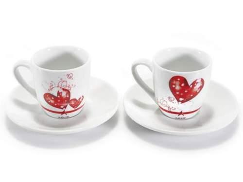 set 2 tazze con piattino con cuori san valentino