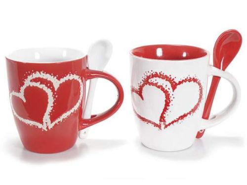 Set 2 tazze in ceramica con cucchiaino