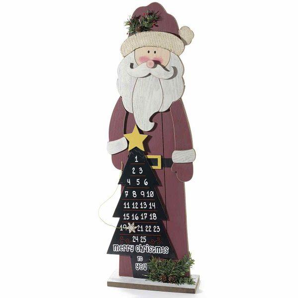 Babbo Natale con calendario a forma di albero di Natale in legno