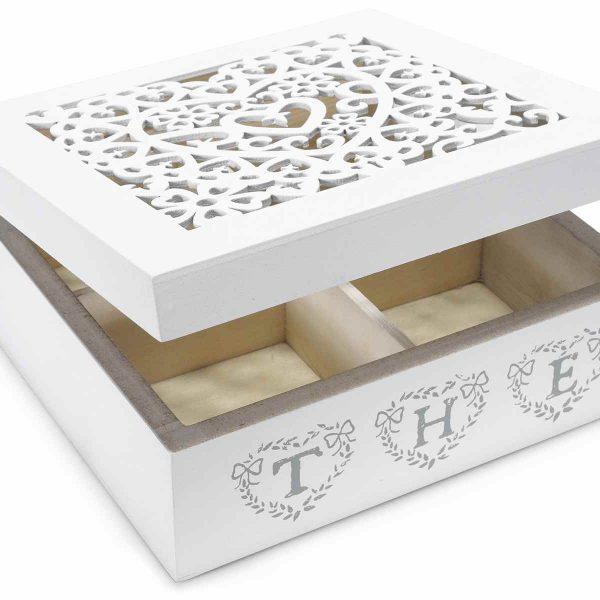 Scatola tè portaspezie in legno bianco