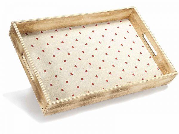 vassoio in legno stampa a cuori