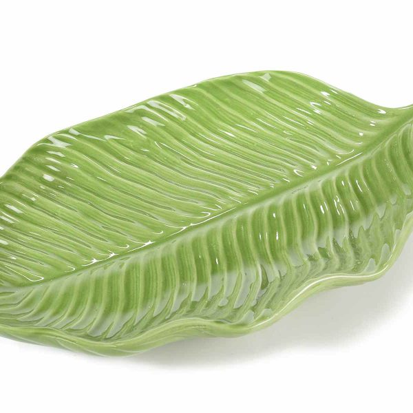 Piatto centrotavola a forma di foglia in ceramica