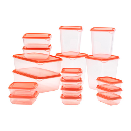 Contenitore per alimenti PRUTA, 17 pezzi, varie misure arancione o verde