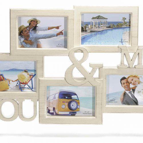 Cornice You & Me in resina colorata per 5 fotografie