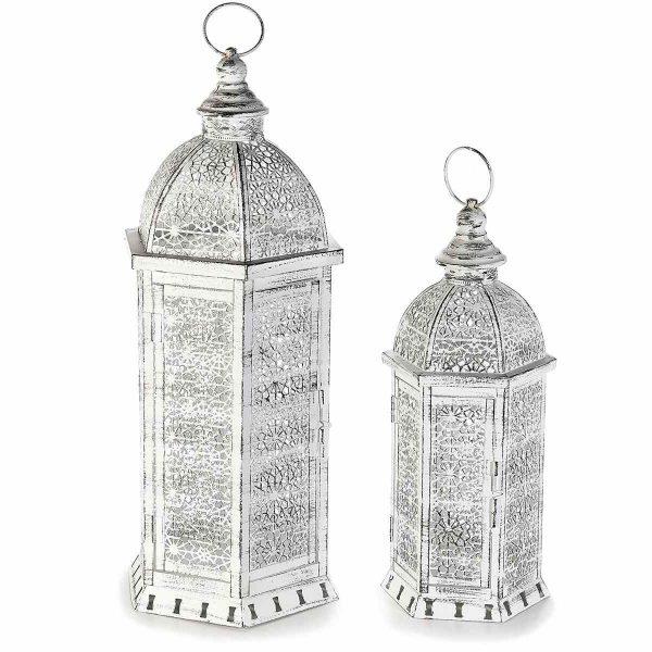 Lanterne porta candele bianco anticato