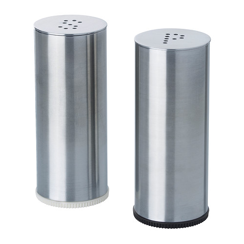 Saliera e pepiera PLATS, 2 pezzi acciaio inox portaspezie