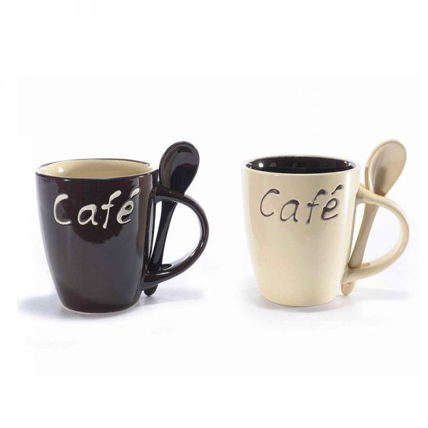 Set 2 tazze caffè con cucchiaino